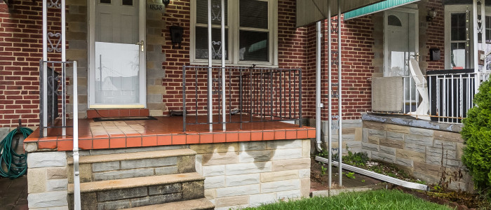 exterior porch of parkville home for sale
