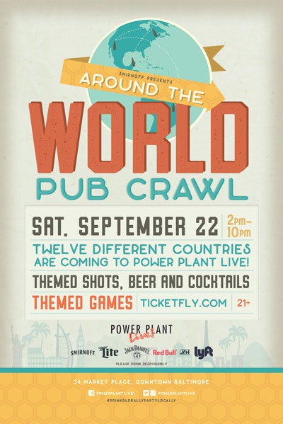 Around the World Pub Crawl in September in downtown Baltimore