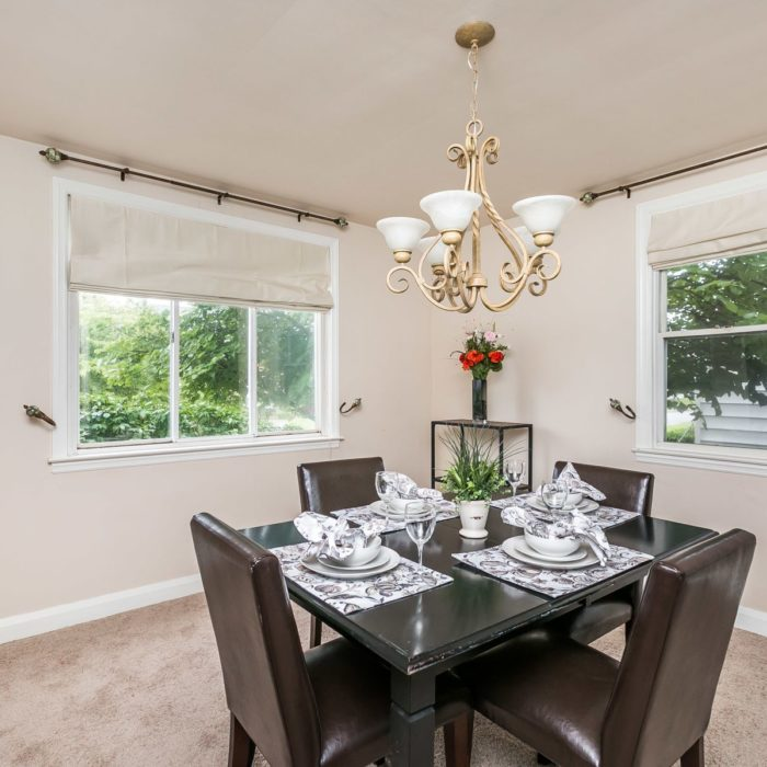 34 Elinor Ave.dining room with chandelier