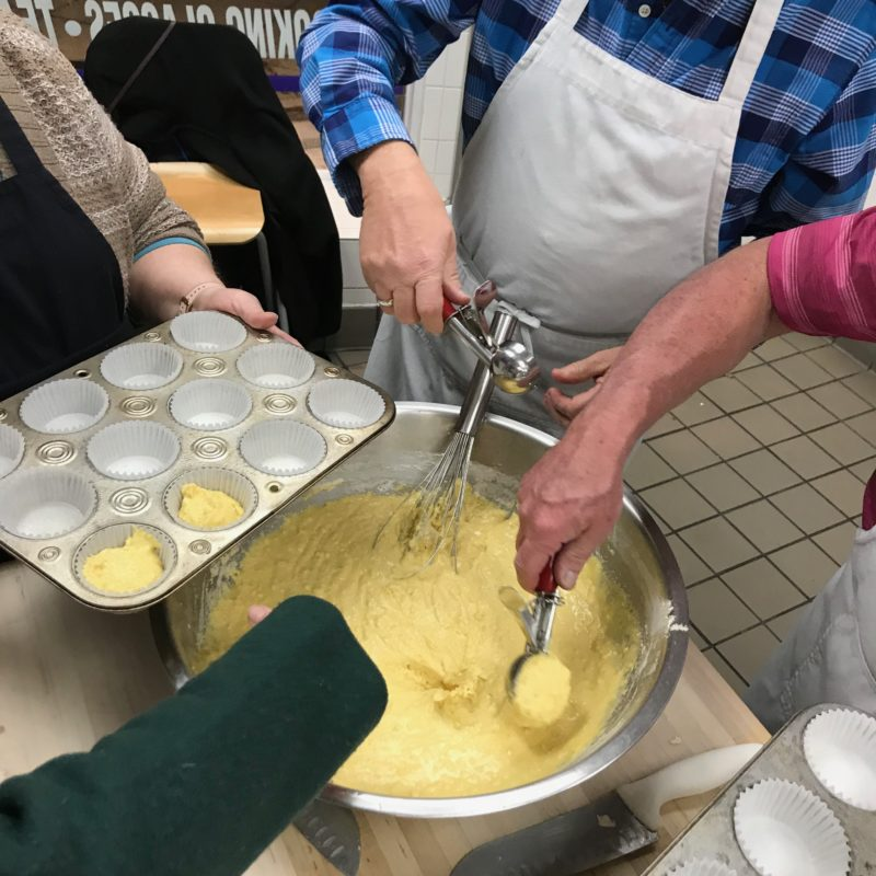 Feed the Community – cornbread muffins in progress