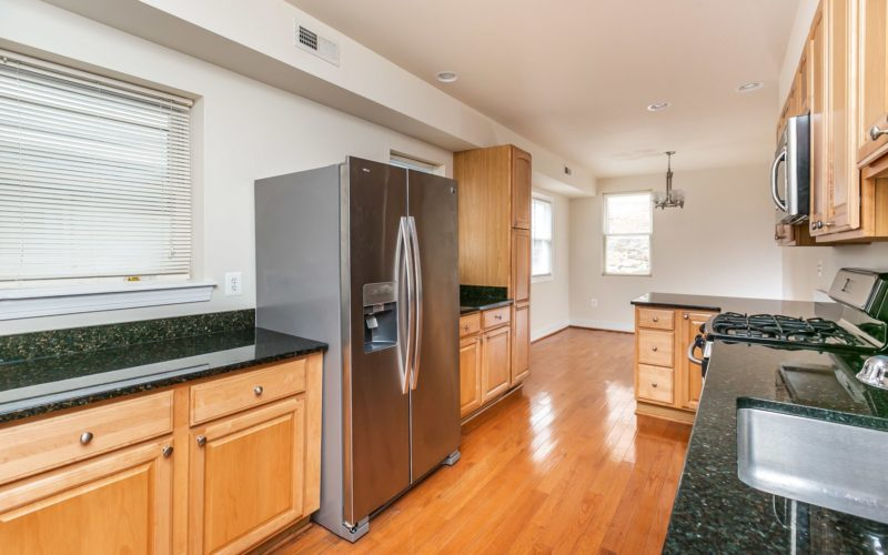 2012 Gough Street, kitchen with countertops and big refrigerator