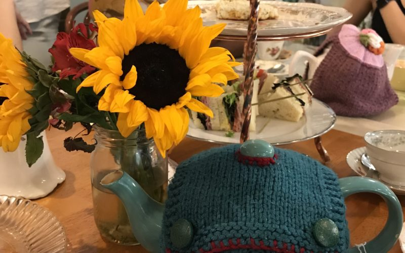 tea party at Emma's Tea Spot, tea cozies with clotted cream and jam