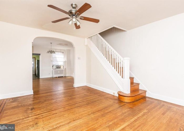 316 Drew St., living room and stairs with ceiling fan