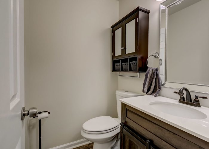 3009 Lilac Court, bath with wooden accents