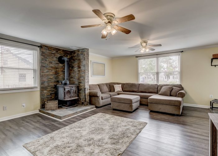 8134 Bullneck Road, living room with wood burning stove