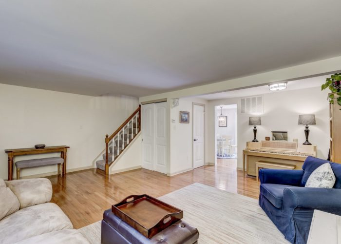 105 East Orange Court, living room with stairs