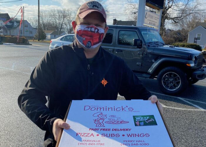 Super Bowl Pizza Event, creative mask wearing encouraged