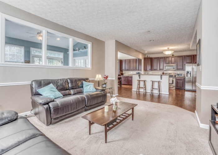 214 Steed Lane, living room with view of kitchen