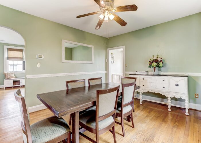 2821 Bauernwood Ave, dining room with ceiling fan