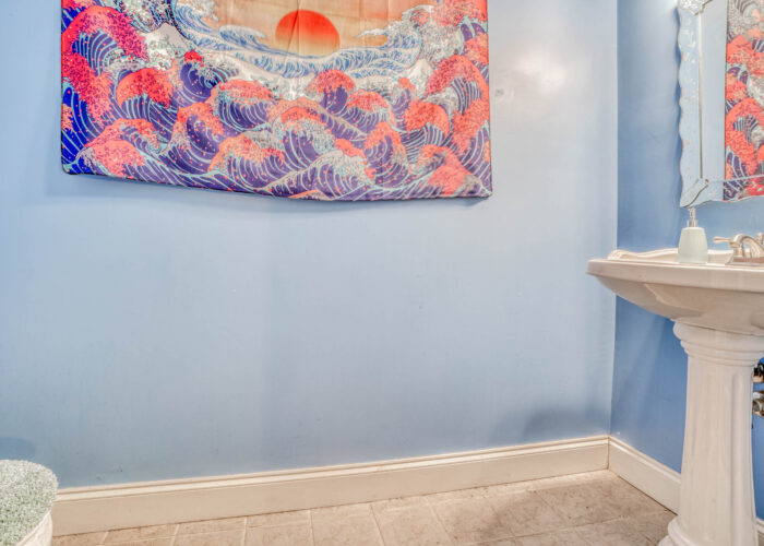 3301 E Baltimore St, powder room with blue walls