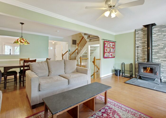 47 Cedarcone Court, living room and wood stove