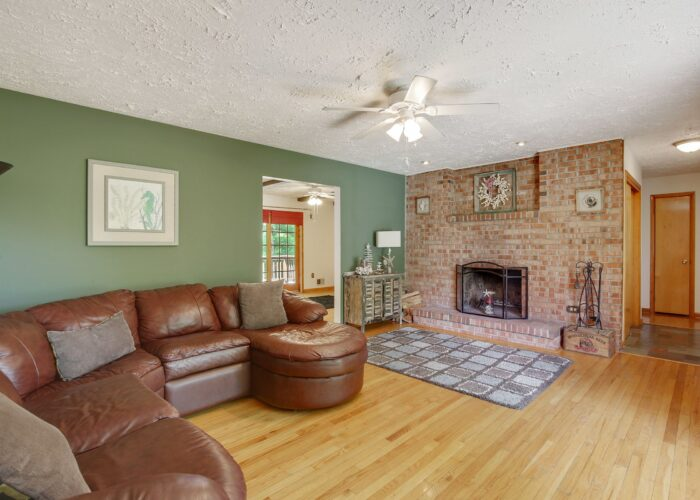 808 Gary Drive, living room showing the wood burning fireplace