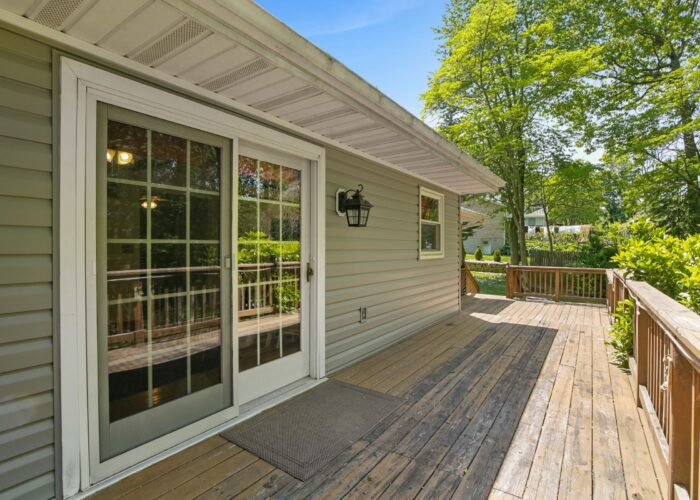 808 Gary Drive, back deck with doors leading inside