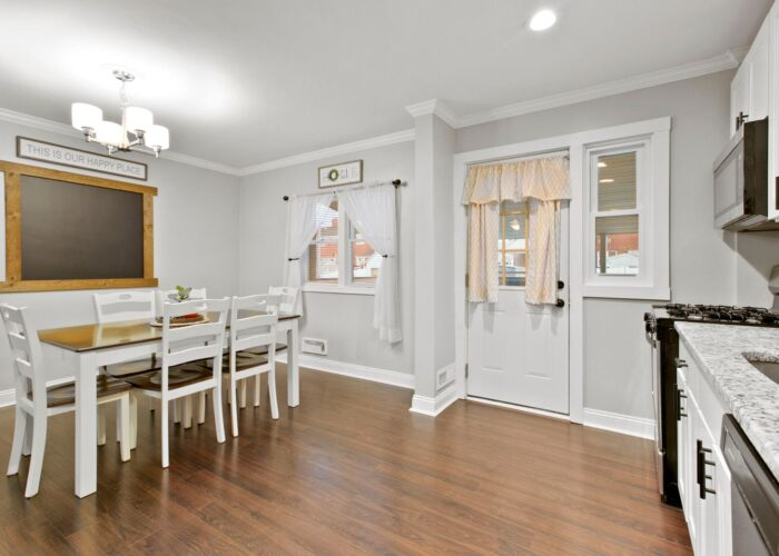 8054 Wallace Road, kitchen with dining room