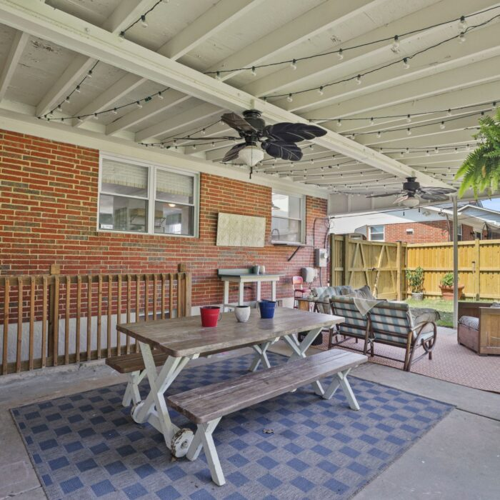 9646 Dundawan Road, covered patio with ceiling fan